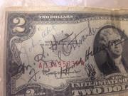 Продам,  купюру 2 доллара,  1963 года,  с автографами